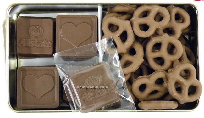 16 Chocolates & Chocolate Covered Pretzels In Tin Container