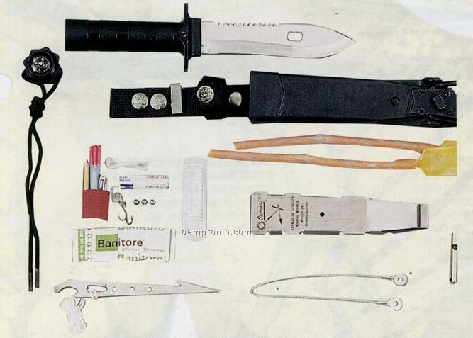 Deluxe Adventurer Military Survival Kit Knife With Compass & Signal Mirror
