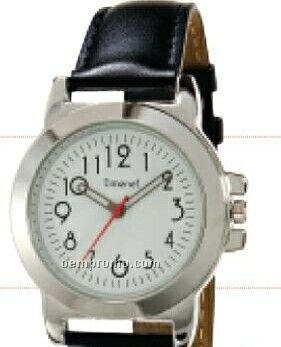 Men`s Contemporary Round Dial Wristwatch W/ Silver Case