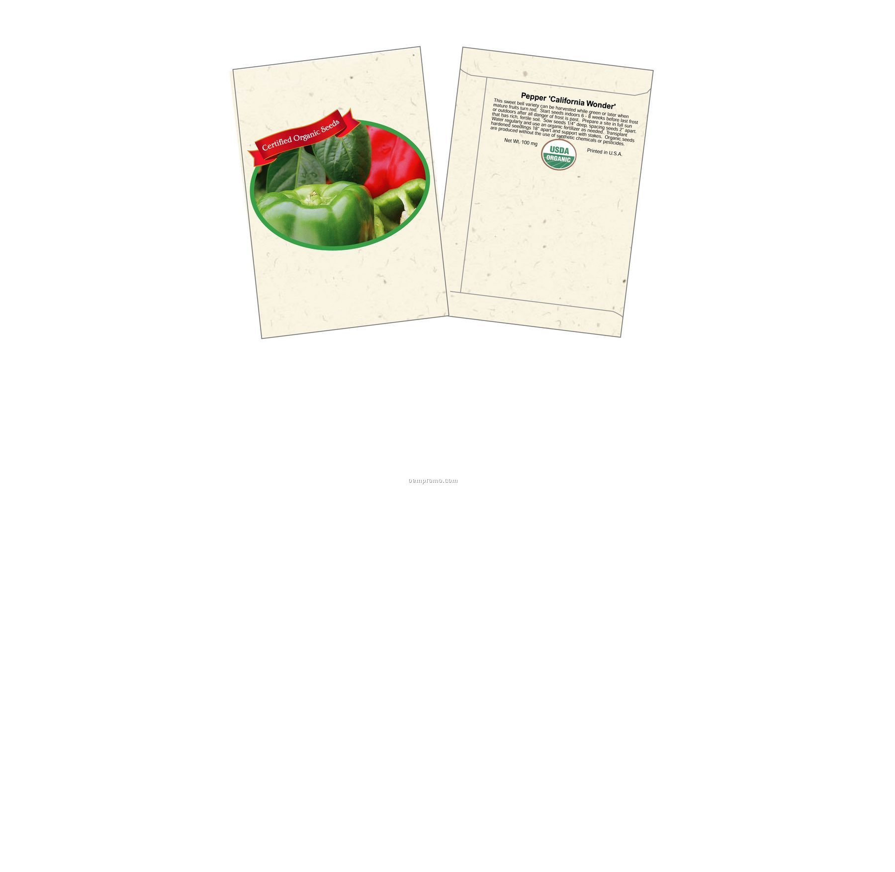 Organic Pepper - California Wonder Seed Packets (2 Color)