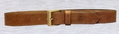 Tan Leather Belt W/ Dull Nickel Buckle