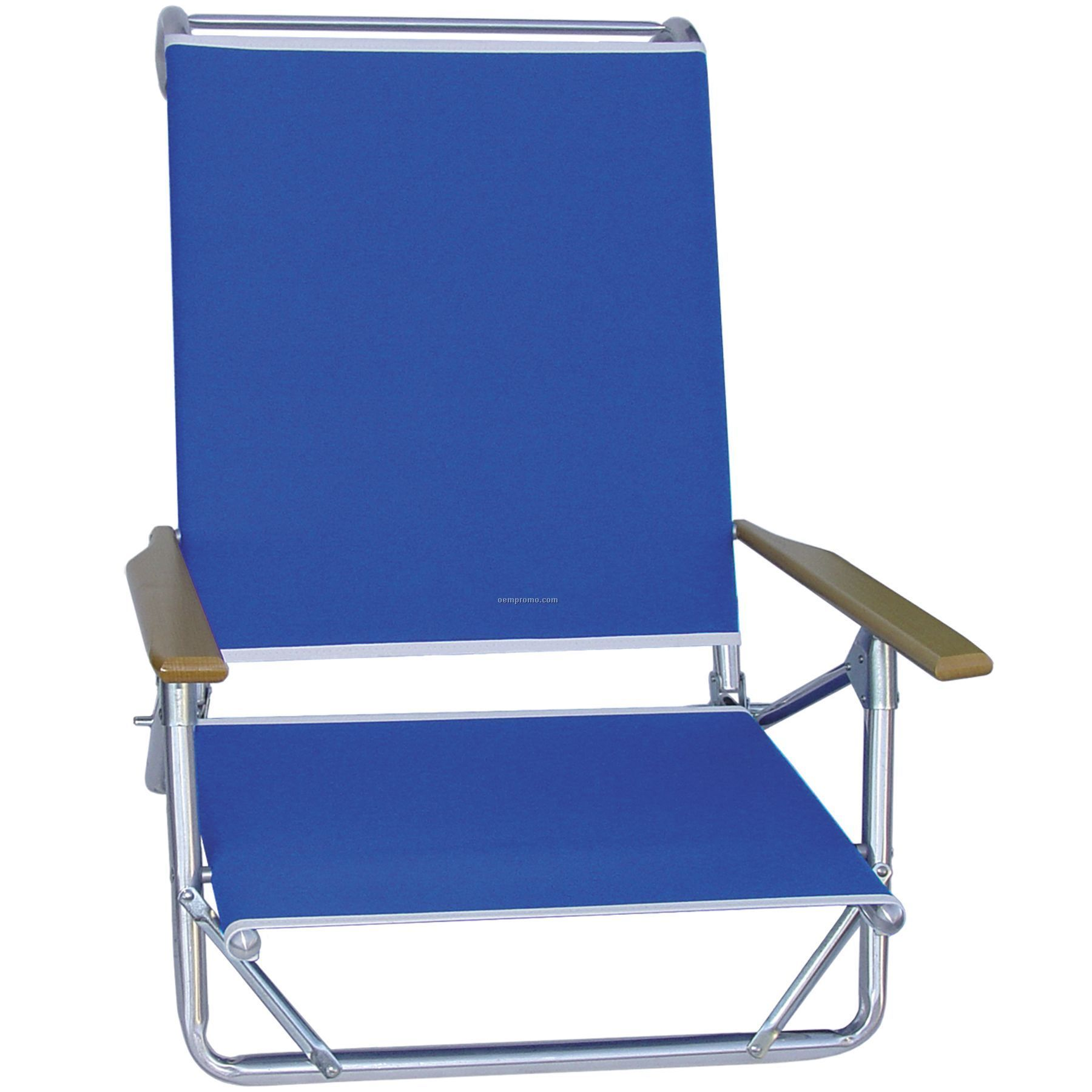 Us Made Deluxe 4 Position High Back Aluminum Beach Recliner W/ Wood Arms