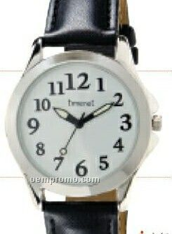Square White Dial Men`s Watch With Black Band