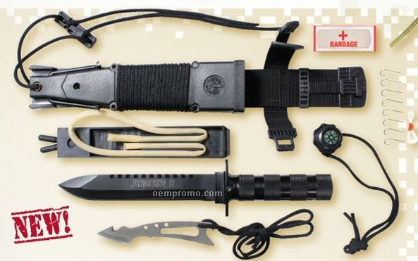 Jungle Survival Kit Knife With Compass