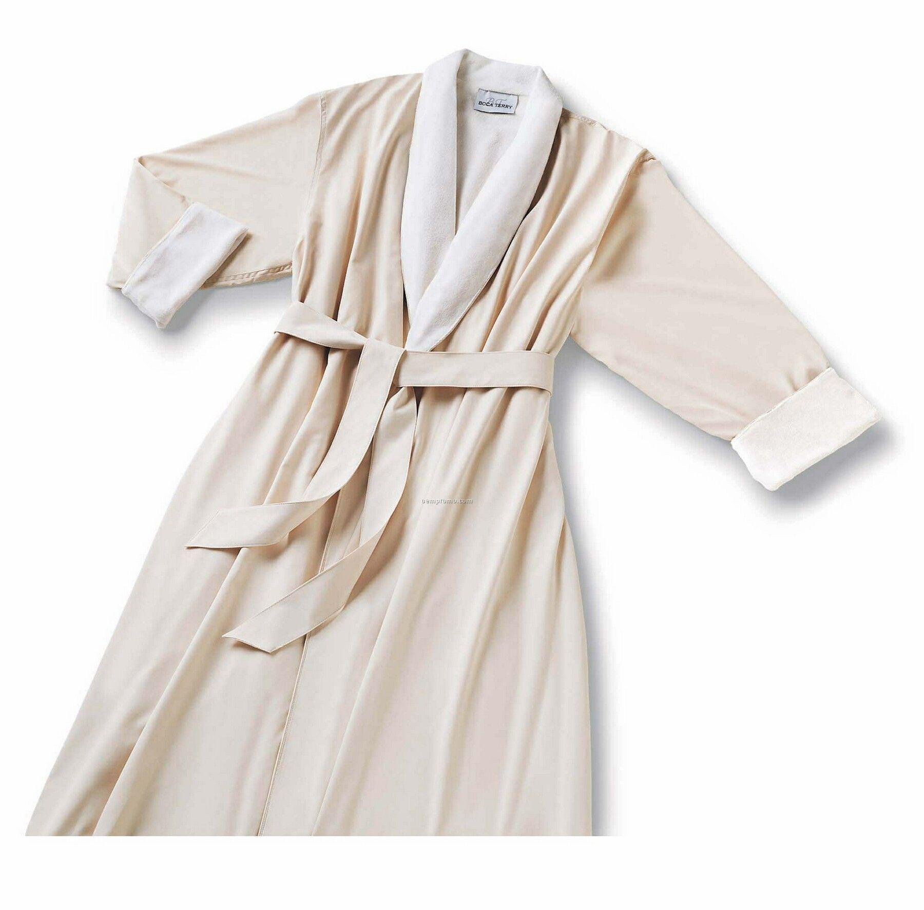 Shawl Collar Microfiber Robe W/ Cotton Poly Knit Lining