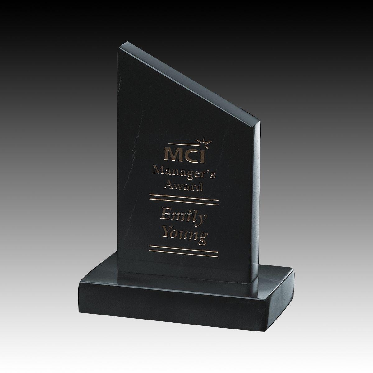 "5 1/2"" Black Newport Genuine Marble Award"