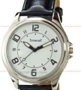 Men`s Contemporary Wristwatch W/ Silver Case