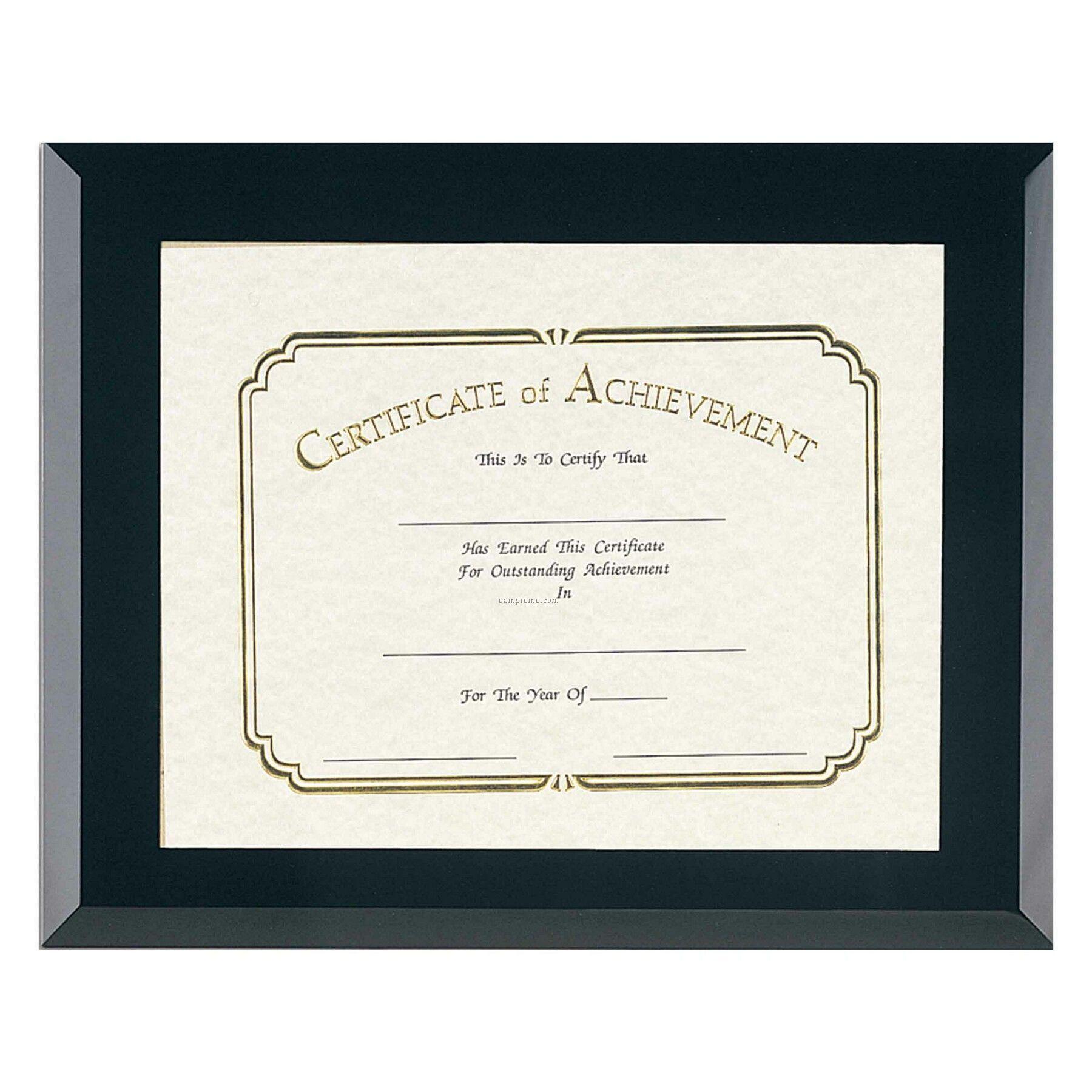 Black Glass Certificate Frame - 8x10 Certificate