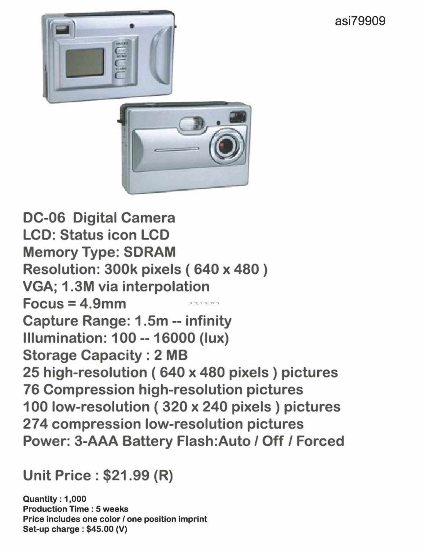 Digital Camera With Icon Lcd