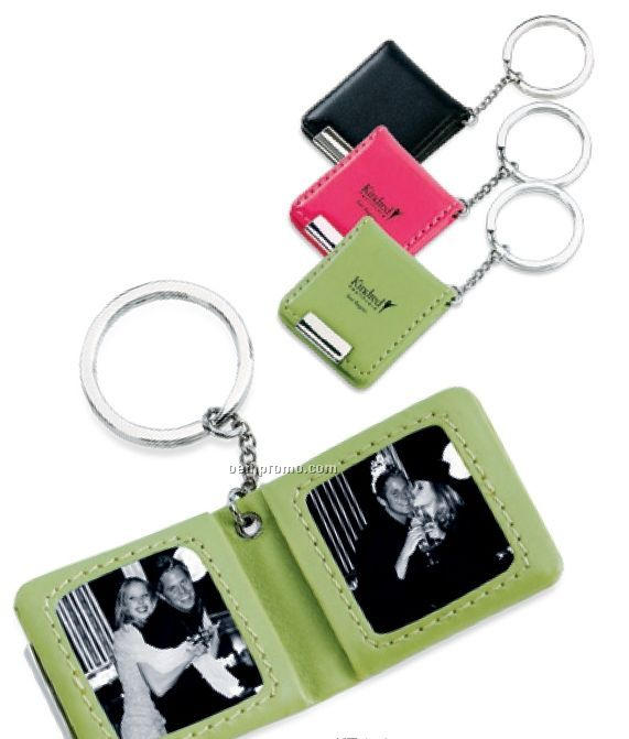 Faux Leather Key Chain With 2 Photo Frames & Magnetic Closure