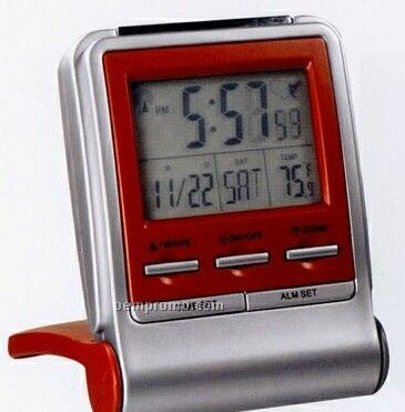 "Flip Cover Travel Atomic Clock (2-3/4""X3-3/5""X1"" )"