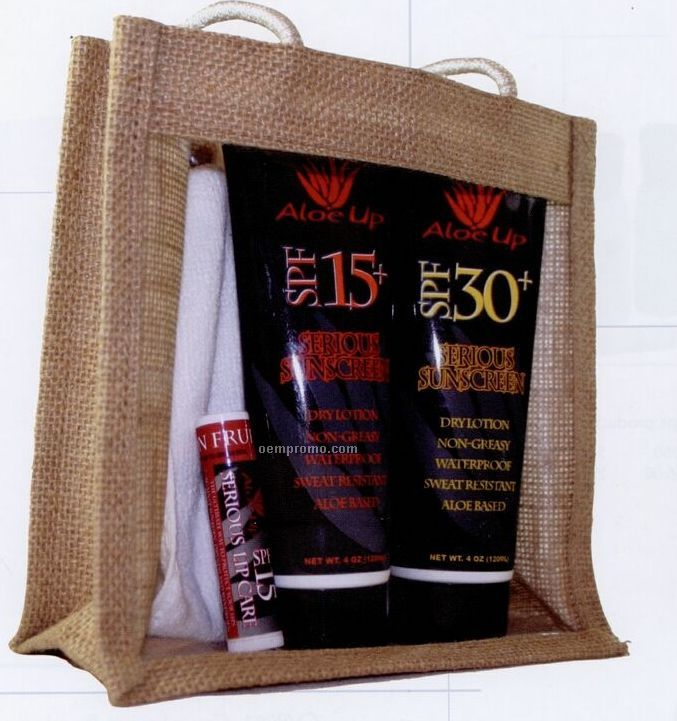 Jute Collection Medium Clear Front Bag W/ Sun Essential Products