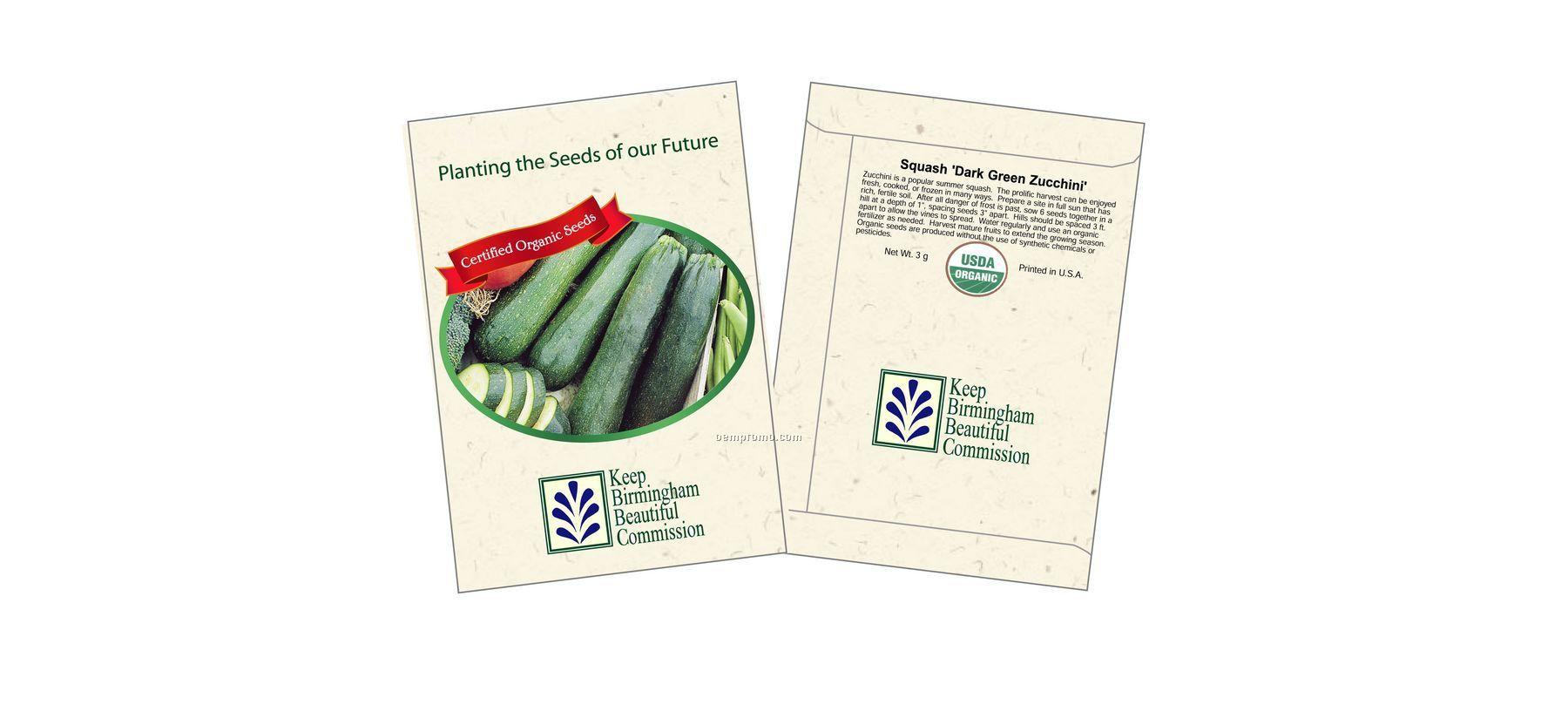 Organic Squash - Dark Green Zucchini Seed Packets (1 Color)