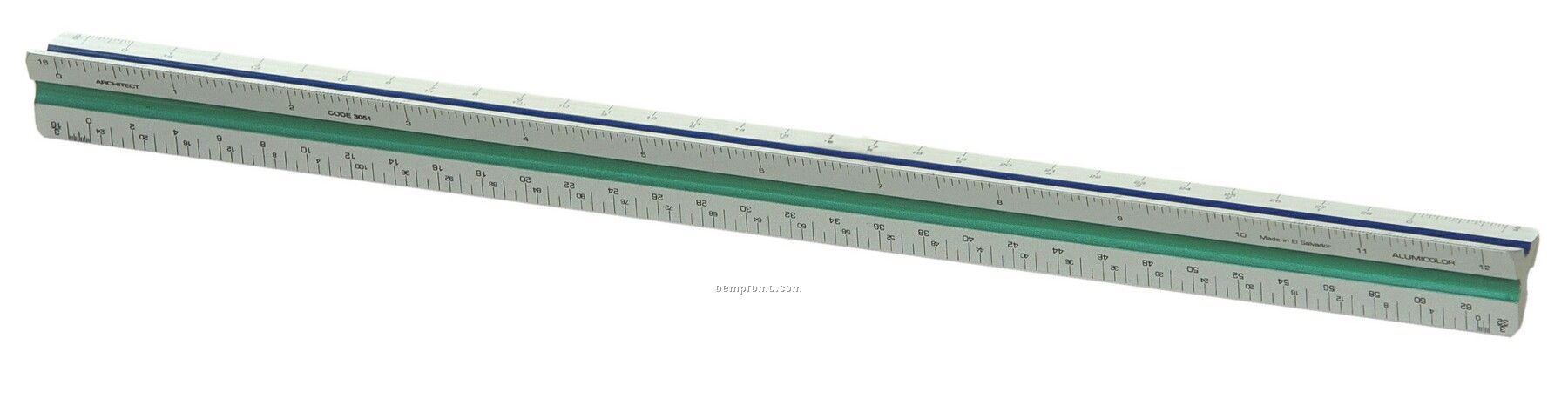 """12"""" Architect Solid Standard Color Coded Triangular Drafting Scale"""