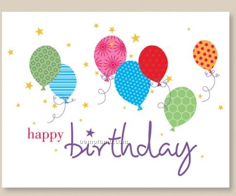 Balloon Patterns Birthday Card W/ Unlined Envelope