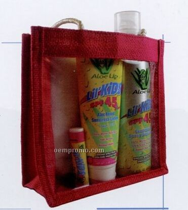 Jute Collection Medium Raspberry Clear Front Bag W/ Sun Essential Products