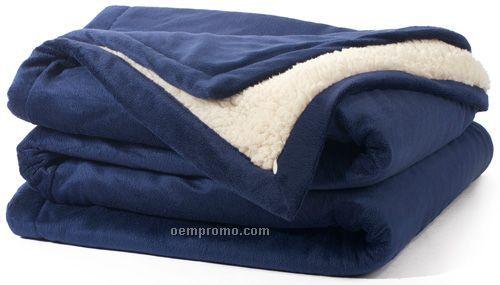Navy Faux Sherpa Blankets