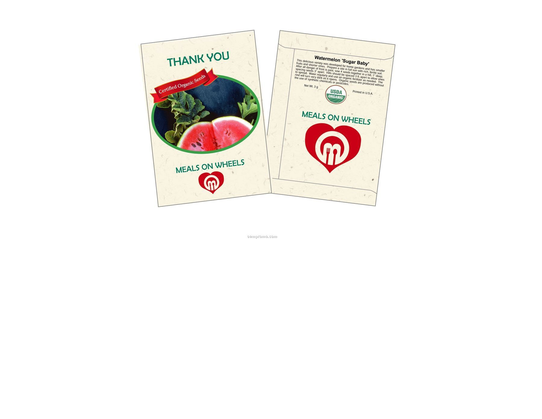 Organic Watermelon - Sugar Baby Seed Packets (1 Color)