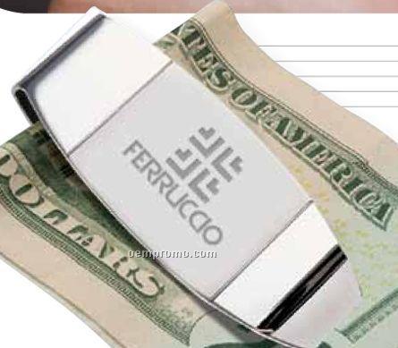 2 Tone Matte Silver & Chrome Finished Money Clip