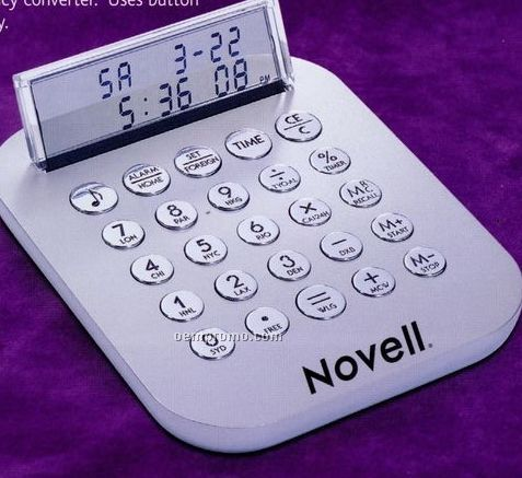 Hi-tech Metal See-thru Calculator With Alarm Clock