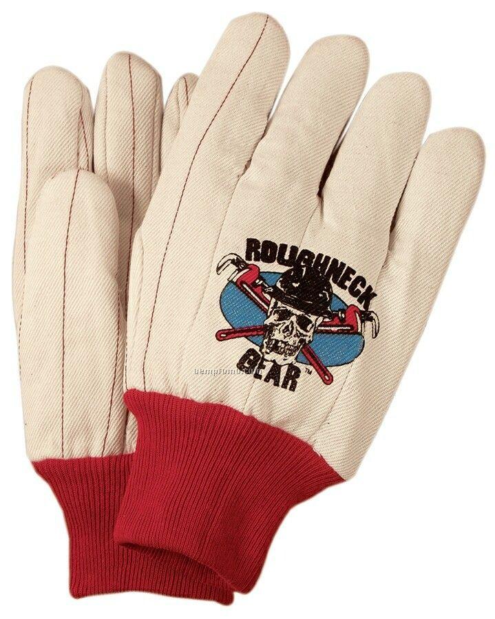 Men's 18 Oz. Cotton Poly Double Palm Oilfield Gloves (Large)