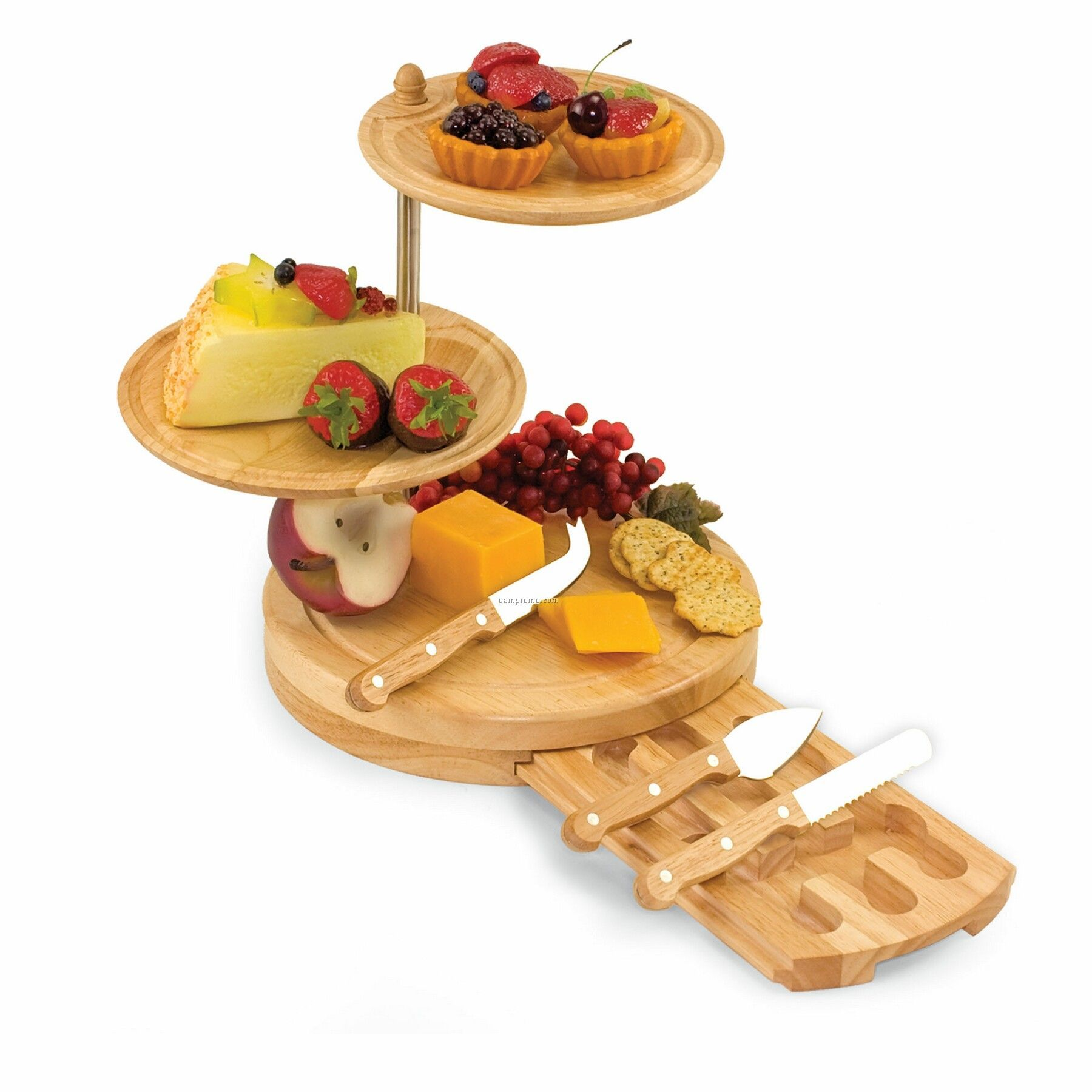 Regalio 3 Tier Wood Serving Tray & Cutting Board W/ 3 Cheese Tools