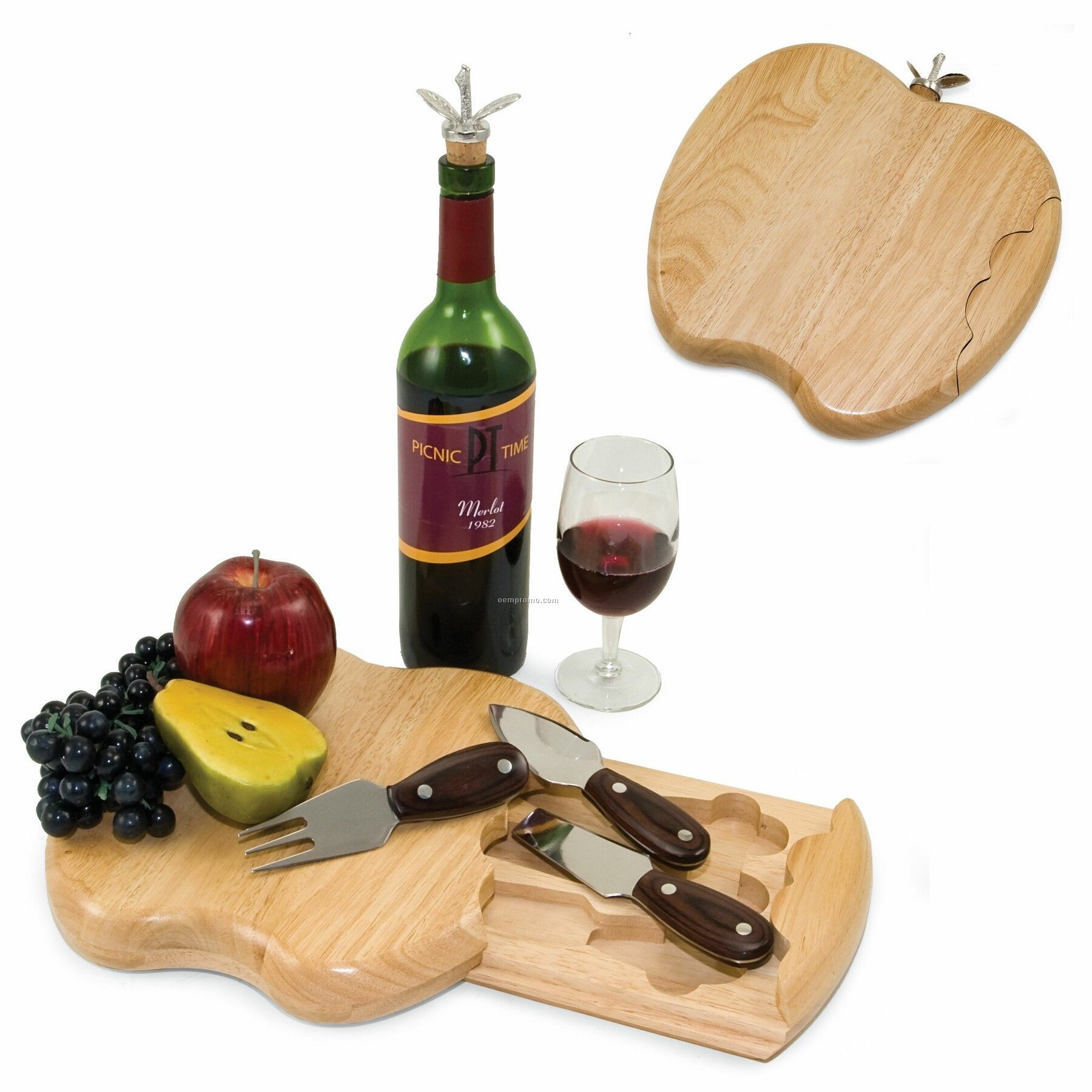 Apple Shaped Rubber Wood Cutting Board W/ 3 Cheese Tools