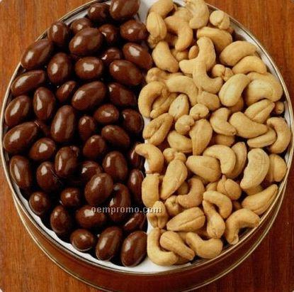 42 Oz. Chocolate Almonds/ Jumbo Cashews Custom Gift Tin