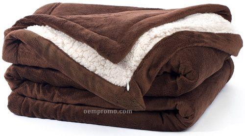 Brown Faux Sherpa Blanket