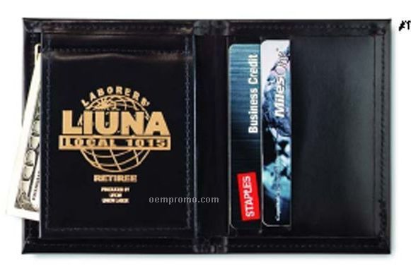 Leather Money Clip/ Credit Card Duo-fold Wallet - Top Grain Cowhide Leather