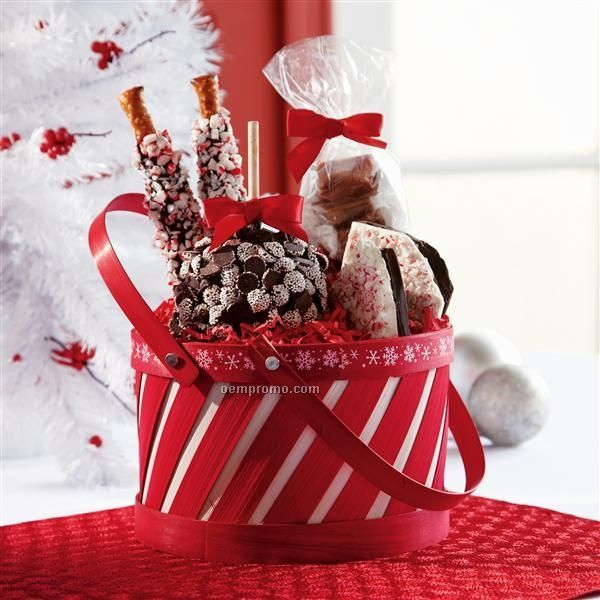 """Small Peppermint Holiday Basket - Apple/ Pretzels/ Candy (8""""X8""""X9"""")"""