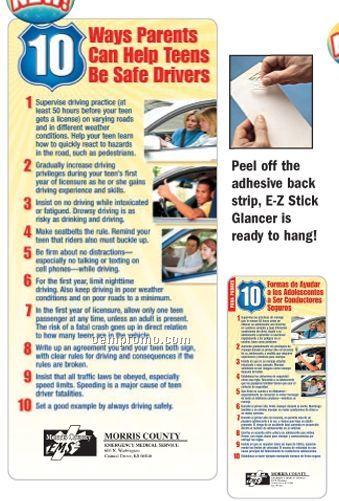 10 Ways Parents Can Help Teens Be Safe Drivers E-z Stick Glancer (English)
