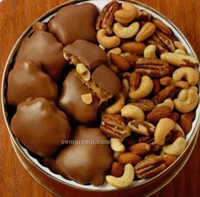 37 Oz. Peanut Clusters/ Deluxe Mix Nuts Custom Gift Tin