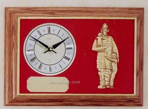 Firematic Clock Oak Framed Fireman & Child