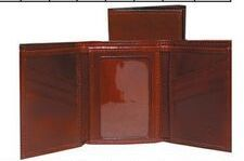 Mahogany Italian Leather Tri Fold Wallet W/ Id Window