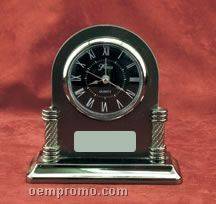 "Silver & Pewter Finish Alarm Clock W/ Black Dial (6""X5-3/4"")"