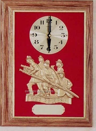 "Firematic Clock Oak Framed ""The Bravest"" Casting"