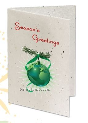 Seeded Paper Holiday Card - Season's Greetings (Ornament)