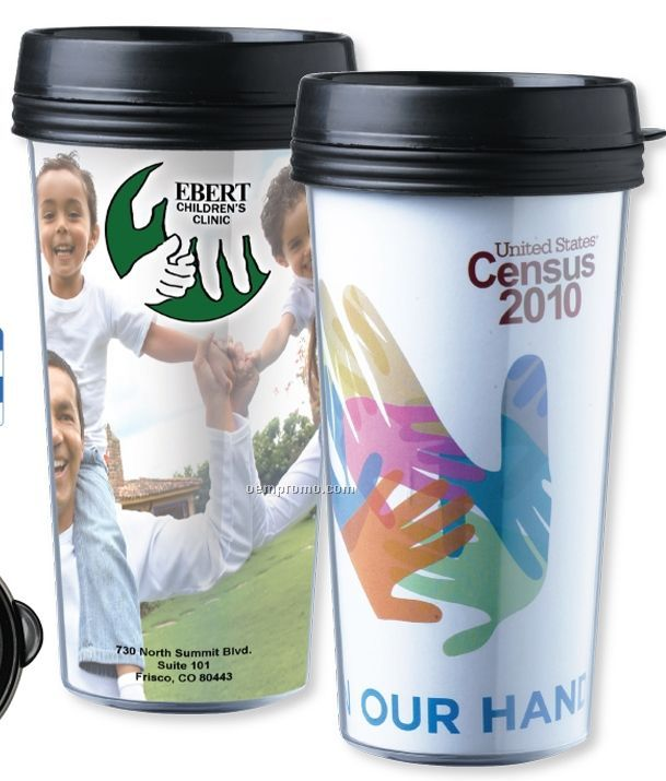 16 Oz. 4 Color Process Double Wall Tumbler W/ Lid (Overseas 8-10 Weeks)