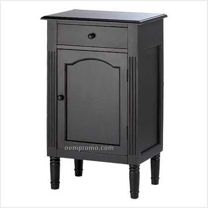 Antiqued Black Wood Cabinet