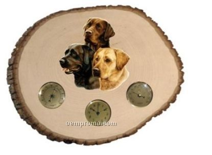 Large Wood Slice W/Weather Station & 3 Dog