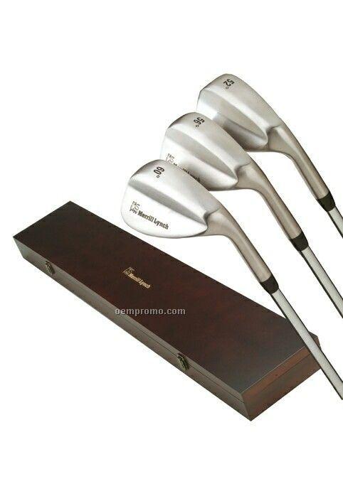 Sedona Three Wedge Golf Set W/Wood Box