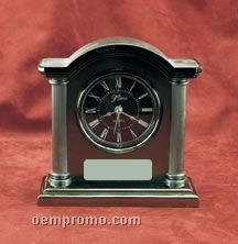 """Silver & Pewter Finish Alarm Clock W/ Arched Top (6""""X5-3/4"""")"""
