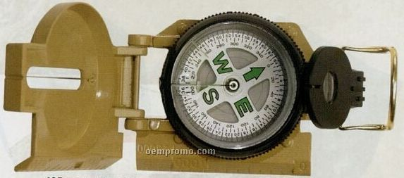 Tan Beige Military Marching Compass With Magnifying Glass