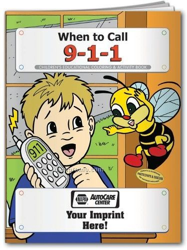 Action Pack Coloring Book W/ Crayons & Sleeve - When To Call 911