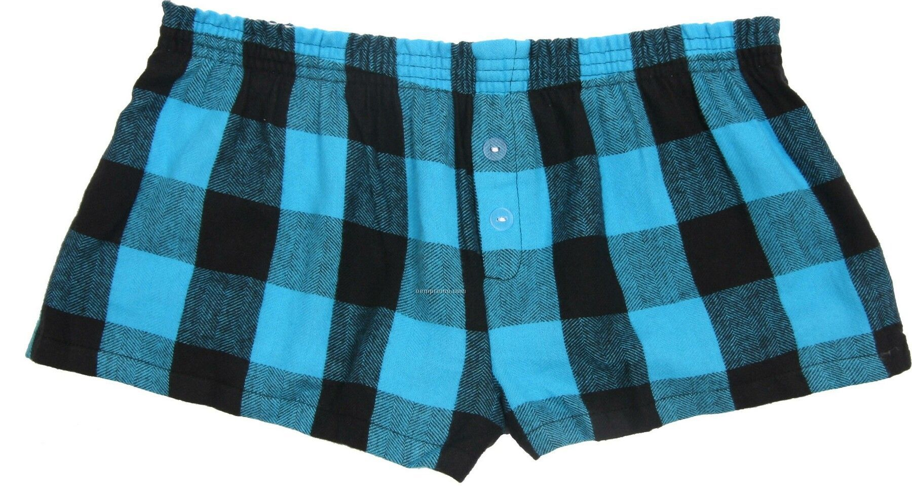 Ladies' Electric Blue Flannel Bitty Boxer Short With False Fly