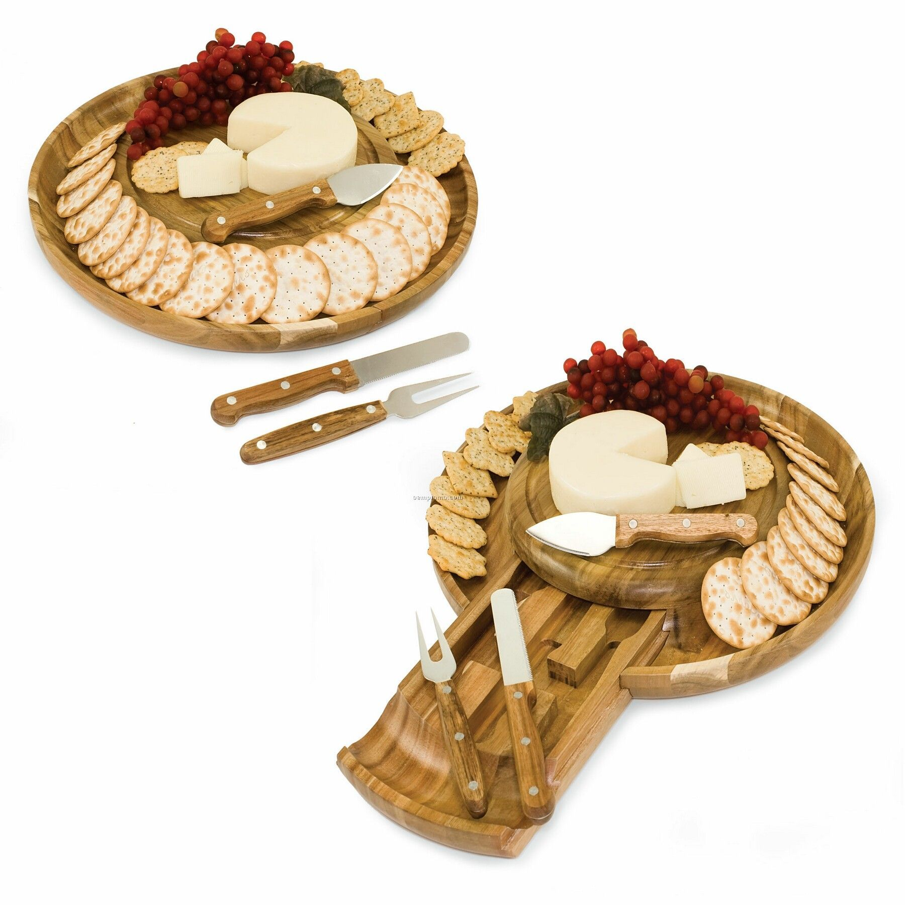 """Colby Round 13.4"""" Wood Cutting Board & Serving Tray W/ 3 Cheese Tools"""