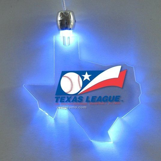 Texas Light Up Pendant Necklace W/ Blue LED