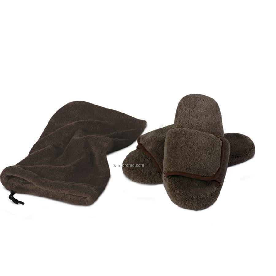 Chocolate Brown Velura Slippers (S-m)