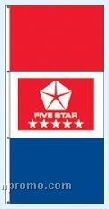 Double Face Dealer Free Flying Drape Flags - Five Star Red
